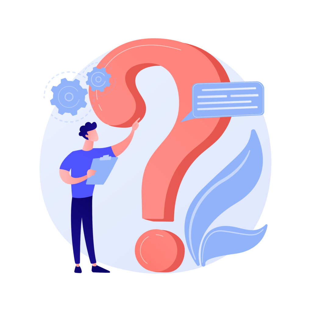 Website FAQ section. User helpdesk, customer support, frequently asked questions. Problem solution, quiz game Confused man cartoon character. Vector isolated concept metaphor illustration